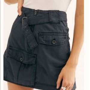 Free people black wash skirt utility style NWT